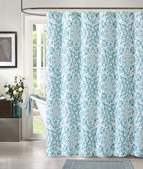 Luxury Home York Print Shower Curtain Teal