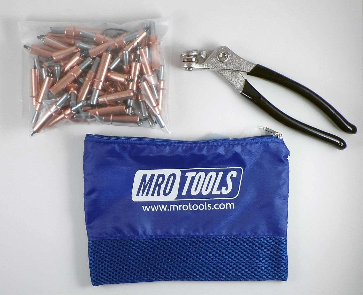 50 1/8 Cleco Sheet Metal Fasteners + Cleco Pliers w/ Carry Bag (K1S50-1/8)