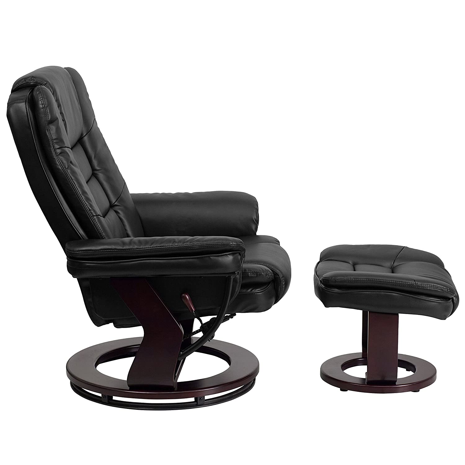 Superieur Amazon.com: Flash Furniture Contemporary Black Leather Recliner And Ottoman  With Swiveling Mahogany Wood Base: Kitchen U0026 Dining