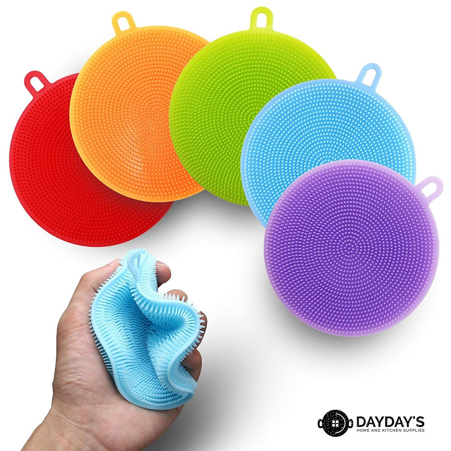 Silicone Kitchen Sponge 3, 5, or 10-Pack. Scrubber for Dishes is Food Grade Antibacterial for Easy Cleaning. Multipurpose as Heat Resistant Pot Holder, Cleans Make-Up Brushes. Non-Stick, Easy Clean DayDay