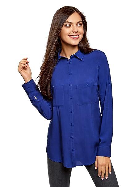 oodji Ultra Mujer Blusa Básica de Viscosa con Bolsillos, Azul, ES 34 / XXS