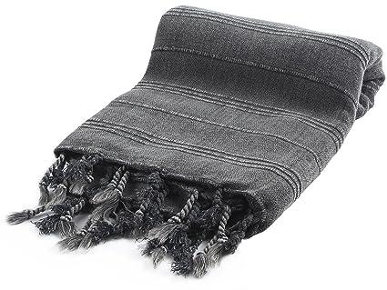 Cacala Microcotton serie toallas de baño turco de, algodón, negro, 95 x 175