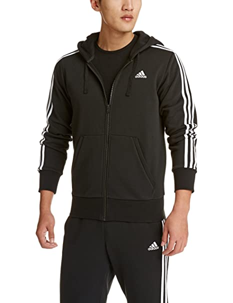 adidas Damen 3 Stripes Kapuzenjacke, Black, 44: Sport & Freizeit