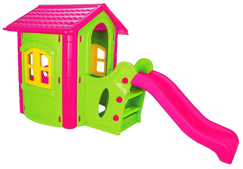 Spielhaus Kinderspielhaus mit Rutsche XXL Pink Grün für drinnen und Draußen Gartenhaus Kinderhaus Kinder Spiel Haus Gartenhaus