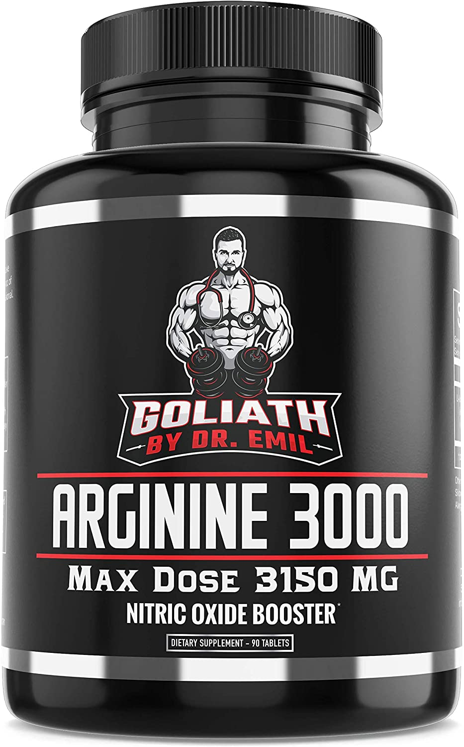 Dr. Emil - L Arginine (3150mg) Highest Capsule Dose - Nitric Oxide Supplement for Muscle Growth, Vascularity, Endurance and Heart Health (AAKG and HCL) - 90 Tablets: Health & Personal Care