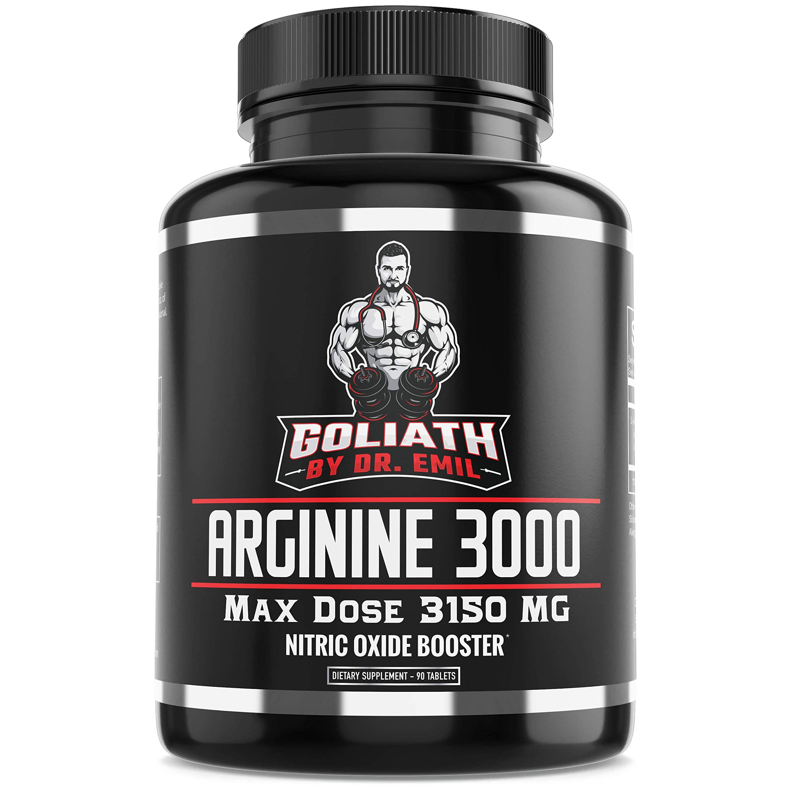 Dr. Emil - L Arginine (3150mg) Highest Capsule Dose - Nitric Oxide Supplement for Muscle Growth, Vascularity, Endurance and Heart Health (AAKG and HCL) - 90 Tablets by DR EMIL NUTRITION