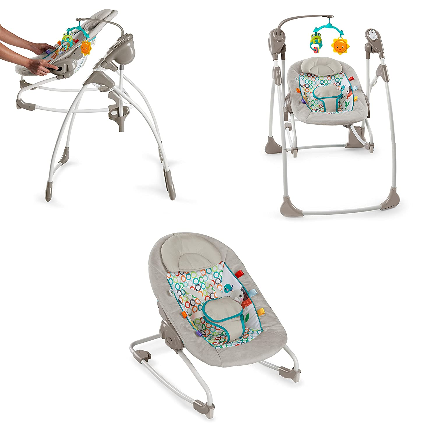 Bright Starts Rock and Swing 2-in-1-Jungle Stream, Grey/Red/Orange/White KidsII 10114