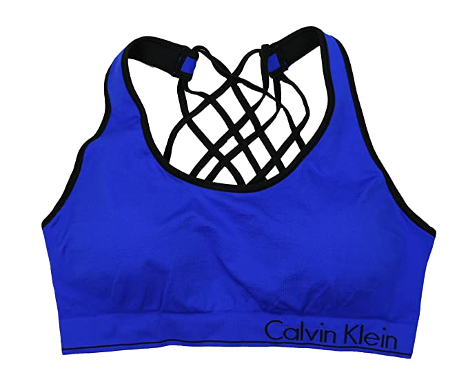 Calvin Klein Performance Womens Strappy Basketweave Sports Bra Blue ... 132f66030