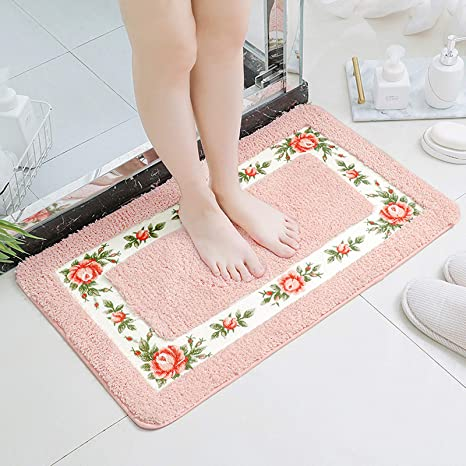 Amazon Com Ukeler Luxury Shaggy Pink Rose Bath Rugs Washable Non Slip Bathroom Mat For Home And Hotel 17 7 X29 5 Home Kitchen