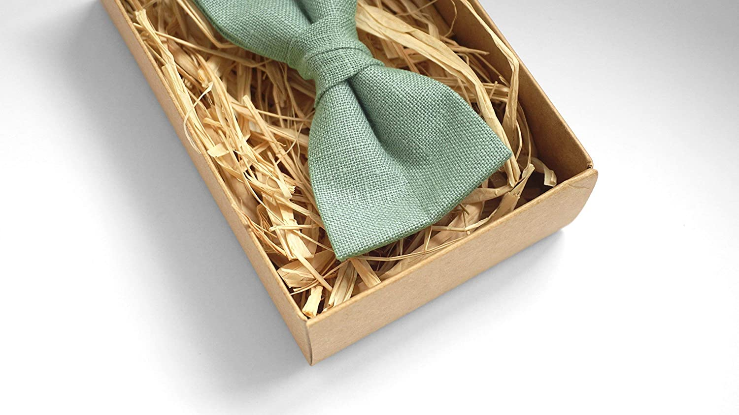 ddc7b83a3cb8 Sage green wedding bow ties for groomsmen and boys or toddlers made from  eco friendly linen