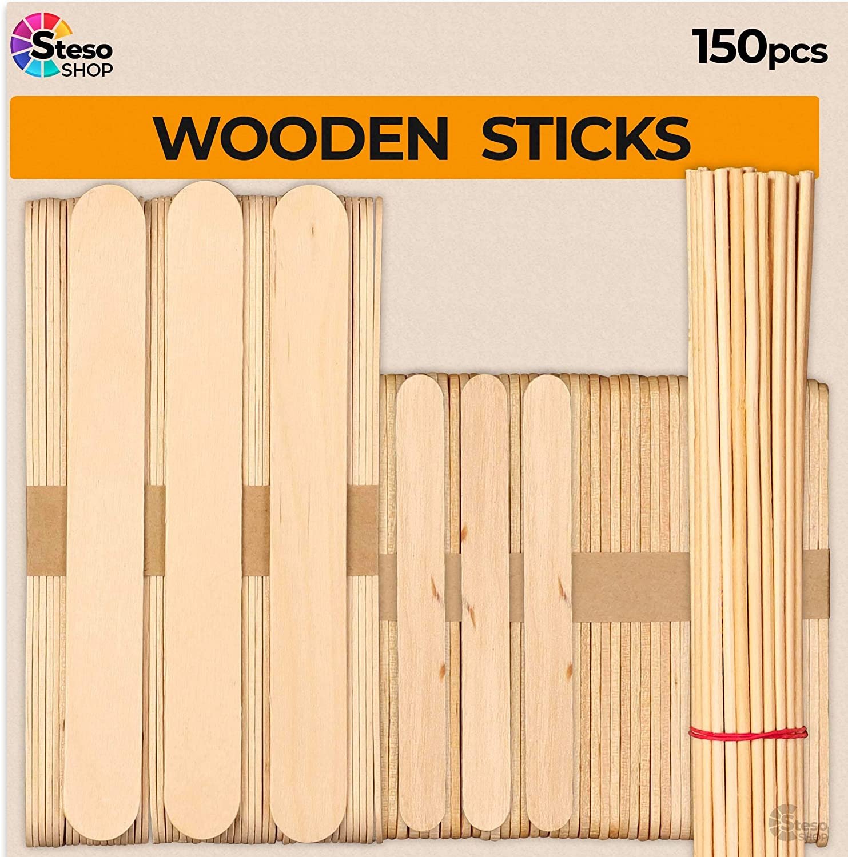 Popsicle Stick Set - Jumbo Popsicle Sticks Crafts for Kids - Wooden Dowel Rods 1/8 12inch - Stir Paint Wood Craft Supplies Large Mini Variety Multi Size - STEM Stick Kit Bulk
