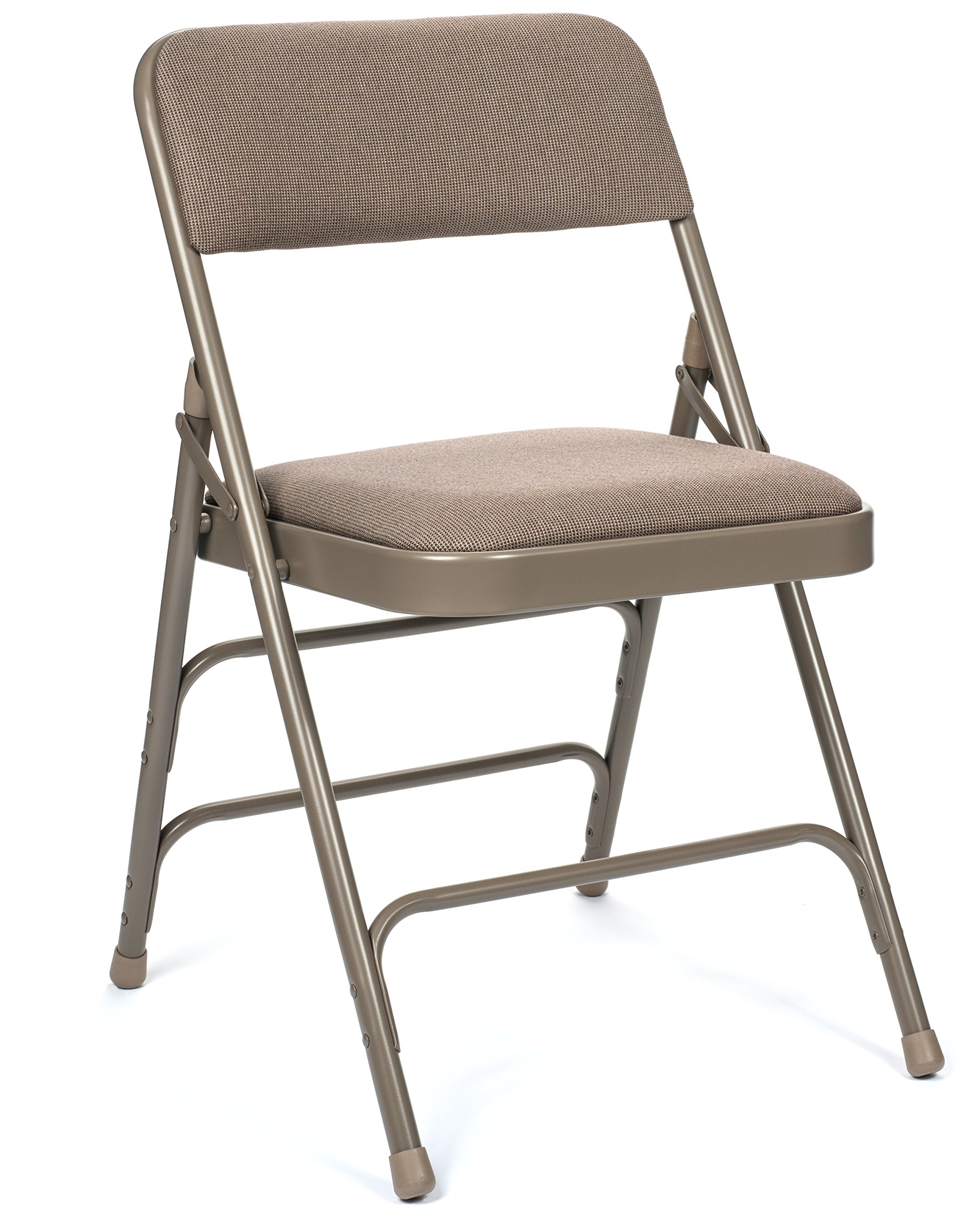 Commercial Fabric Padded Folding Chair, Triple Cross Bracing, Quad Hinging, 300 lb Tested, 4 Pack (Beige) by XL Series