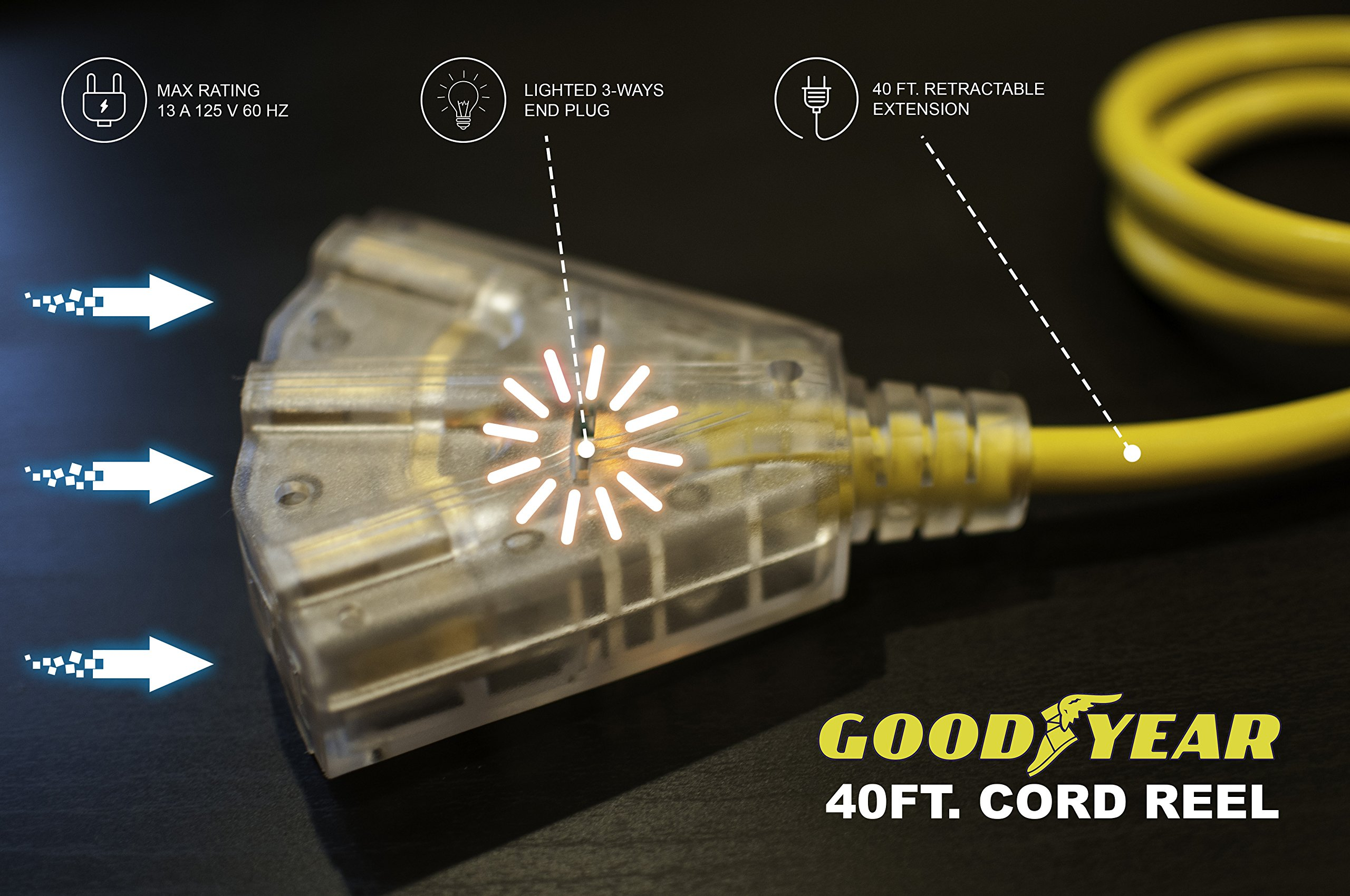 Goodyear Extension Cord Reel Heavy Duty, 40 ft., 12AWG/3C SJTOW, Triple Tap with LED Lighted Connector by Goodyear (Image #4)