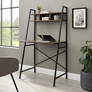 Walker Edison Industrial Wood and Metal X-Back Ladder Desk Home Office Workstation 56 Inch, Dark Walnut