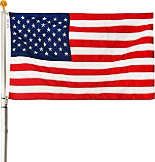 product image for Ezpole Flag Poles, Liberty Flag Pole Kit for Two Flags, Aluminum and Stainless Steel Deluxe Telescoping Pole, 17-Feet