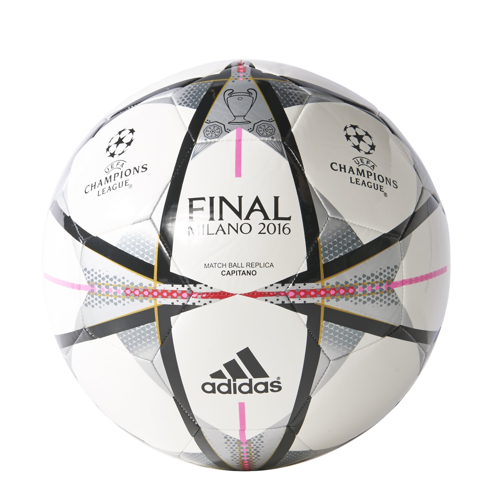 adidas Performance Champions League Finale Milano Capitano Soccer Ball, White/Black/Silver Metallic, Size 3