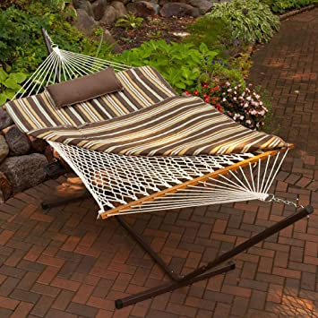 algoma 11 ft  cotton rope hammock metal stand set amazon     algoma 11 ft  cotton rope hammock metal stand set      rh   amazon