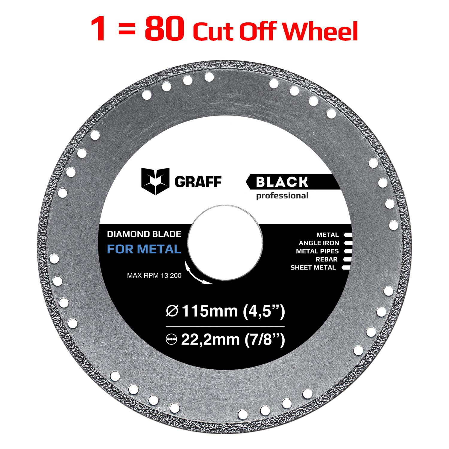 Cut Off Wheel GRAFF Black 4-1/2 Inch for Sheet Metal, Angle Iron, Pipes, Rebar, 7/8 Inch Arbor, Diamond Edge (4.5 Inch (115mm))