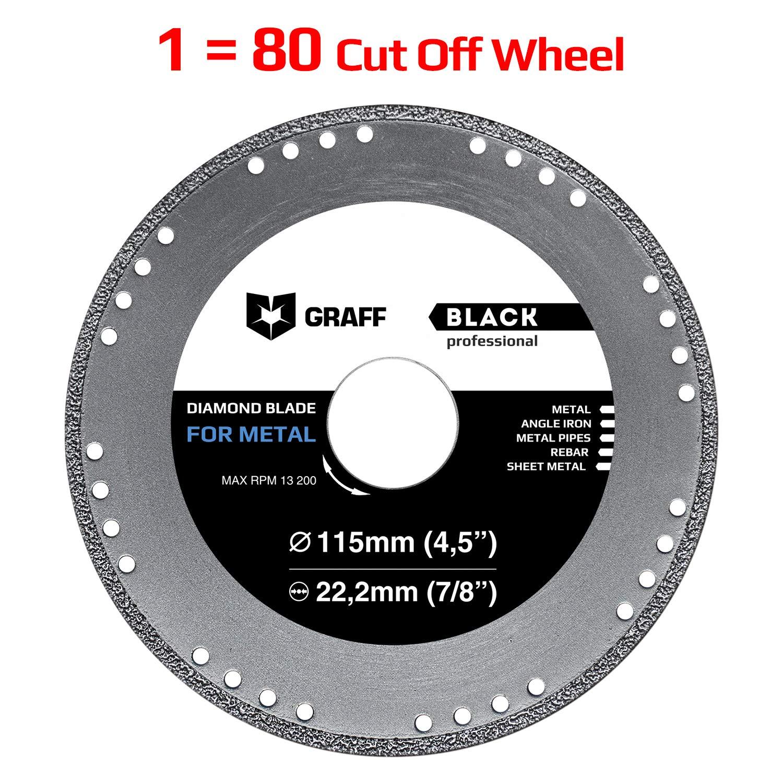 Cut Off Wheel GRAFF Black 4-1/2 Inch for Sheet Metal, Angle Iron, Pipes, Rebar, 7/8 Inch Arbor, Diamond Edge (4.5 Inch (115mm)) by Graff