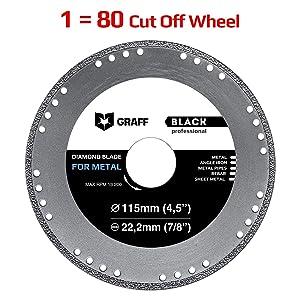 Cut Off Wheel GRAFF Black 4-1/2 Inch for Sheet Metal, Angle Iron, Pipes, Rebar, 7/8 Inch Arbor, Diamond Edge (4.5 Inch (115mm))