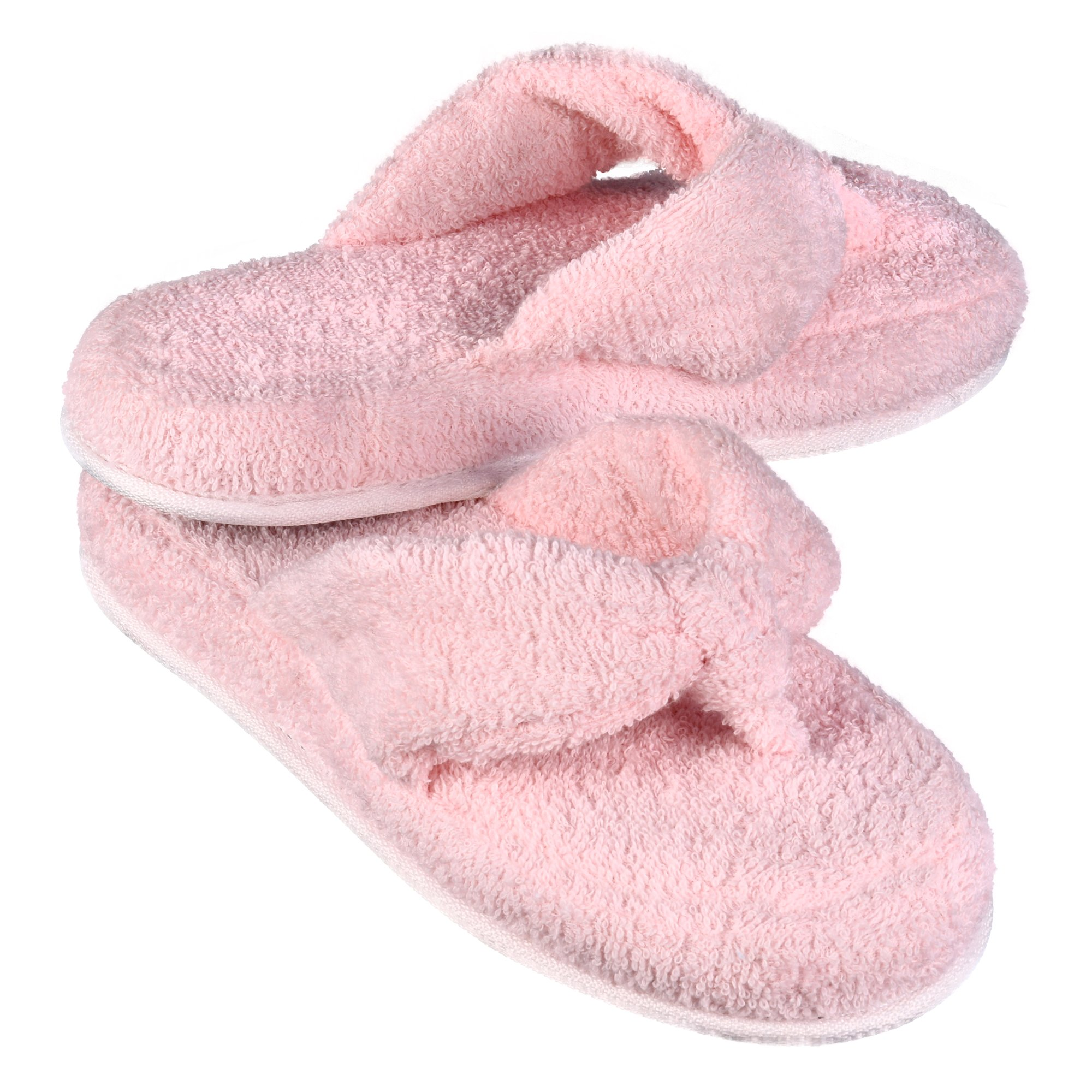 EuropeanSoftest Women's Cozy Memory Foam Soft Premium 100% Terry Cotton Cloth Spa Thong Flip Flops House Indoor Slippers (Large/9-10 B(M) US, Pink)