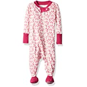 Burt's Bees Baby Baby Girls Pajamas, Zip Front Non-Slip Footed Sleeper PJs, 100% Organic Cotton, Azalea Stitched with Love, 3-6 Months