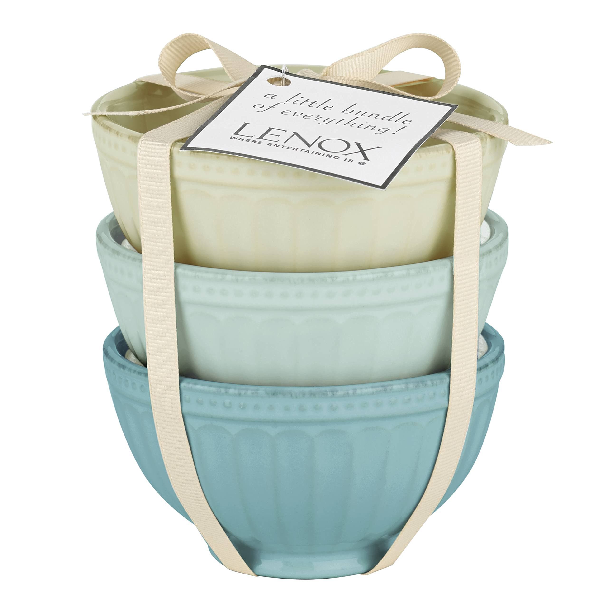 Lenox French Perle Groove Assorted Mini 3 Piece Bowl Set