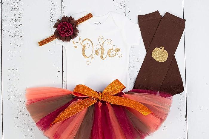 16396e95377 Amazon.com: GirliesGalore Girls Fall Birthday Outfit, Baby Girl 1st Birthday,  Pumpkin Birthday, Fall Themed Birthday, Girls First Birthday Outfit:  Handmade
