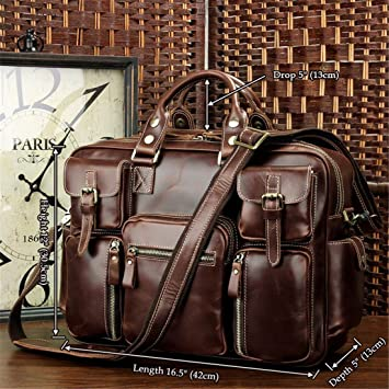 1ff67c76a8b2 Amango Rare Crazy Horse Leather Men s Briefcase Laptop Bag Dispatch  Shoulder Huge 16.5