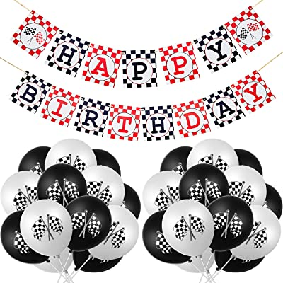 31 Pieces Race Car Party Decorations Set Including Race Car Happy Birthday Banner and Checkered Racing Car Balloons for Racing Car Theme Party Supplies: Toys & Games