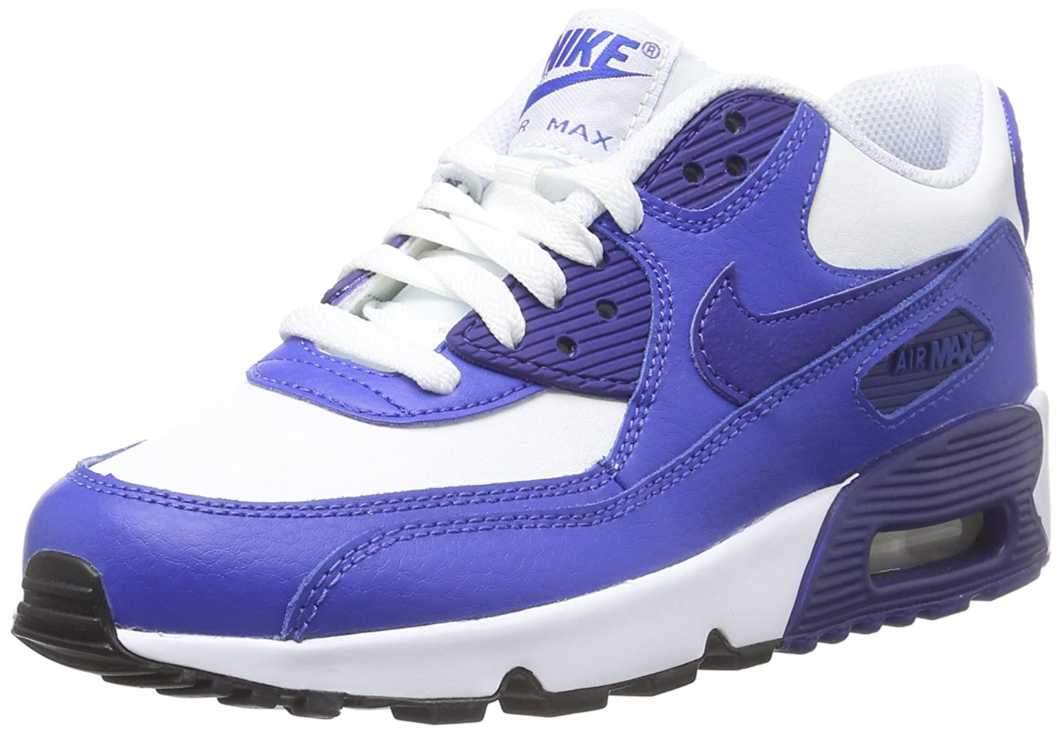 NIKE Kids Air Max 90 LTR (GS) Running Shoe B01HVOPRRS 6.5 M US Big Kid|WHITE/DEEP ROYAL BLUE-GAME ROYAL-BLACK