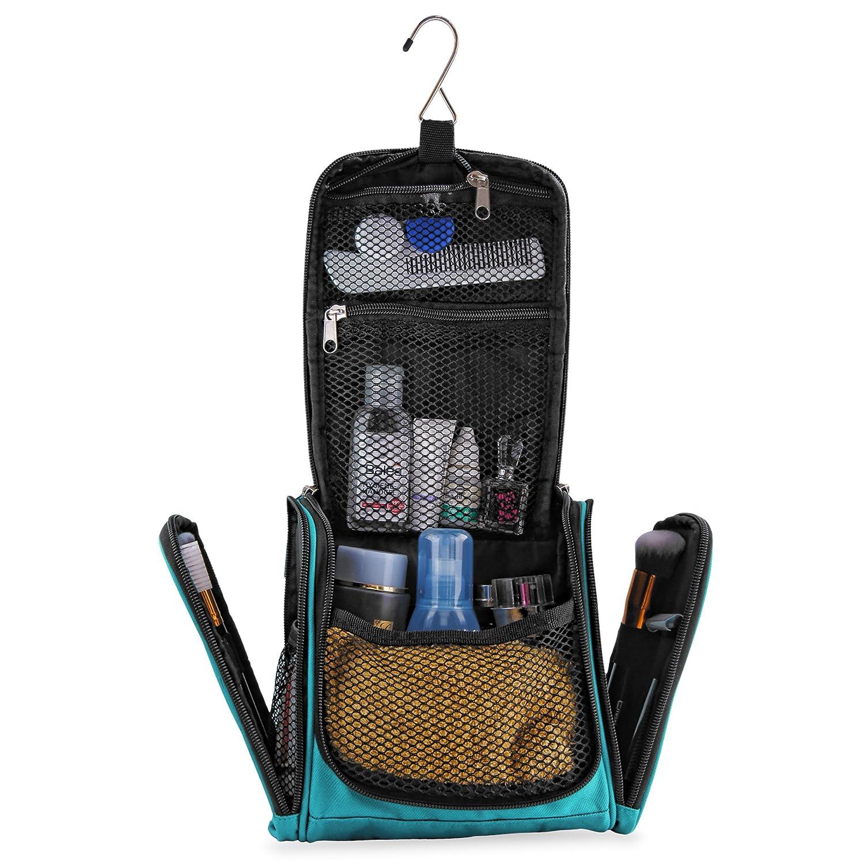 Petite trousse de toilette premium, ultra spacieuse | Kit de voyage compact avec crochet, pour hommes/femmes | Sac de toilette résistant à l'eau (turquoise)