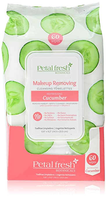 Petal Fresh Botanicals Makeup Removing Cleansing Towelettes Refreshing Cucumber, 60 Count
