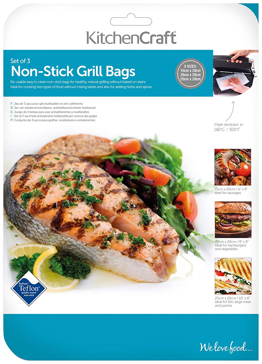 Amazon.com: Kitchen Craft Grill Bags, Non-Stick, Reusable ...