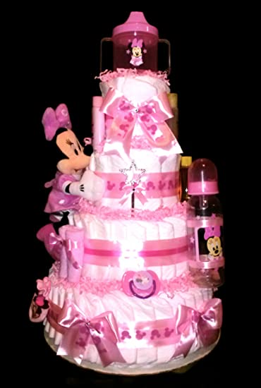 Amazon Minnie Mouse Pink Diaper Cake For Baby Shower