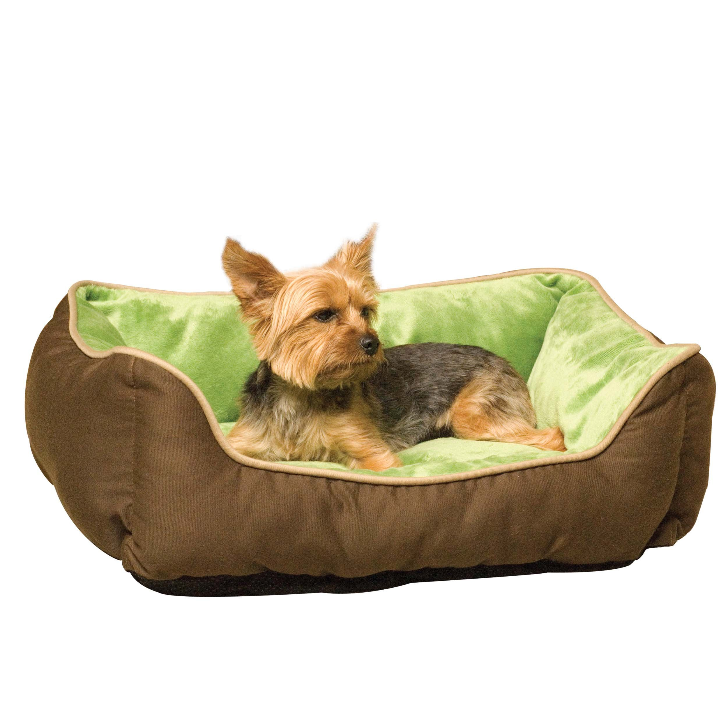 K&H Pet Products Self-Warming Lounge Sleeper Pet Bed Small Mocha/Green 16'' x 20''