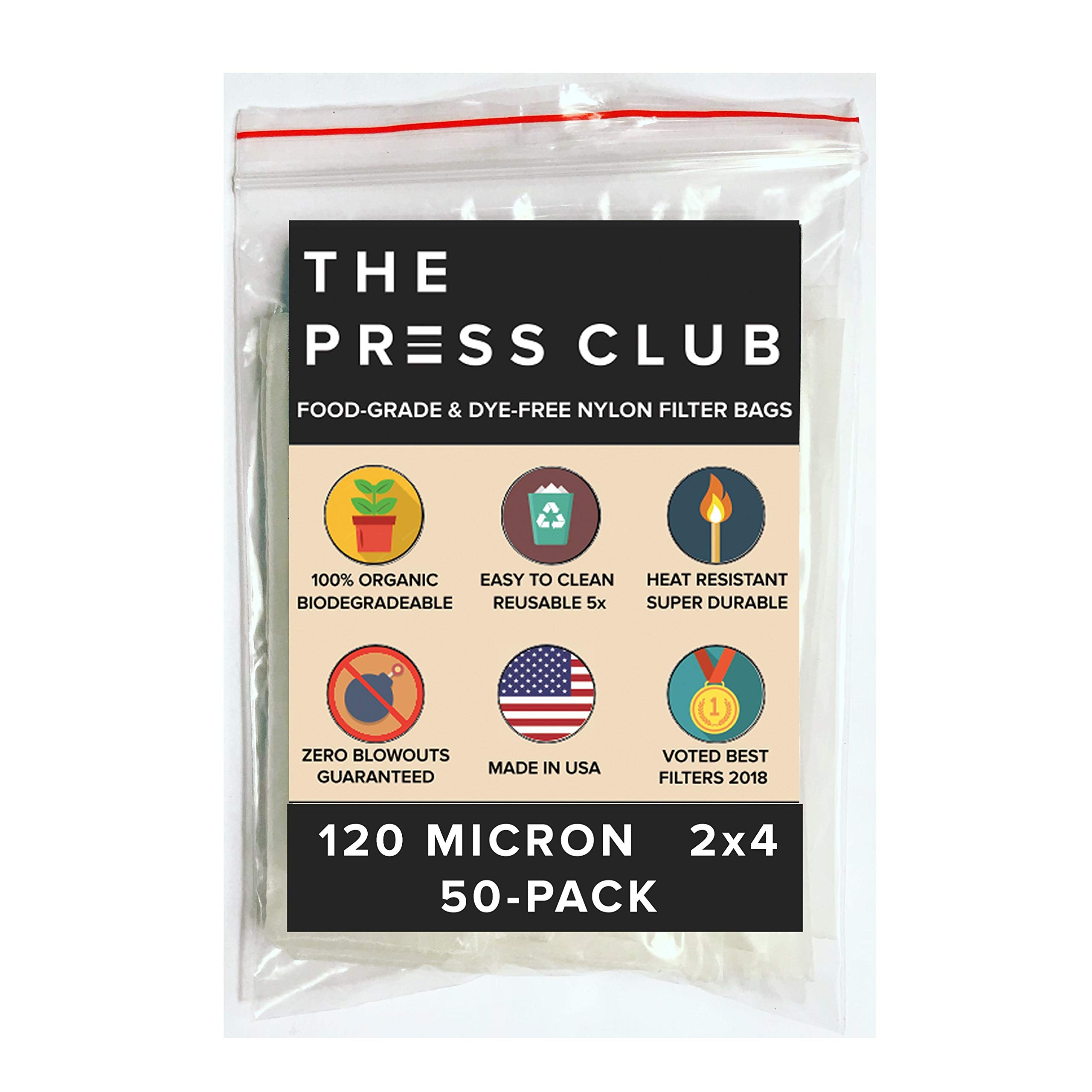 120 Micron | Premium Nylon Tea Filter Press Screen Bags | 2'' x 4'' | 50 Pack | Zero Blowout Guarantee | All Micron & Sizes Available by The Press Club