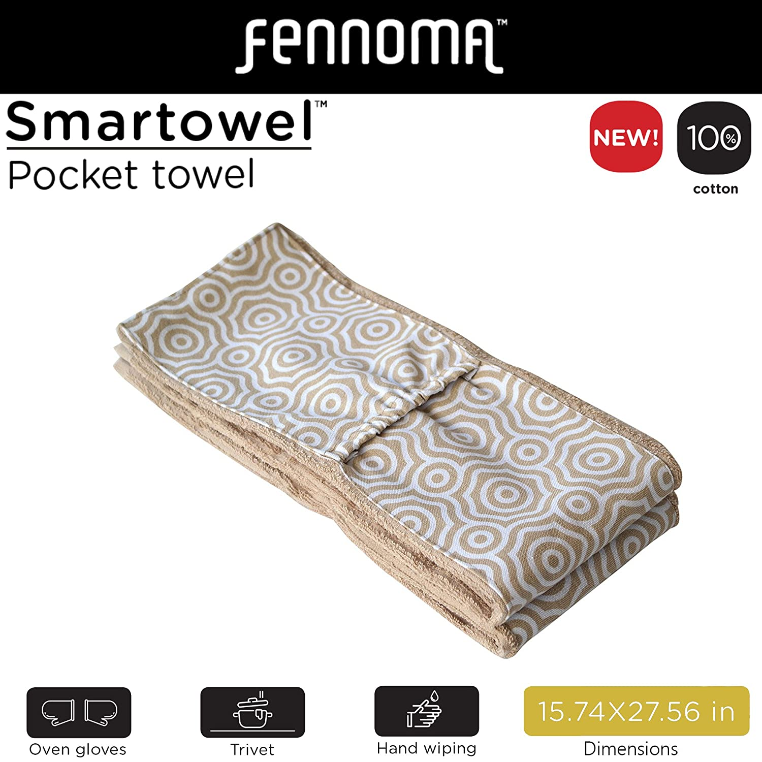100/% Pure Cotton,kitchen dish towel Cooking Gloves /& Trivet Trivet and oven mitts and Highly Absorbent Fennoma Smart Towel 3-in-1 Pocket Kitchen Towel
