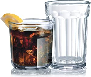 Set of 16 Durable Drinking Glasses   Heavy Base Glass Cups   Glassware Set Includes 8-21 oz Highball Glasses 8-14 oz Tumbler Glasses Ideal for Water, Juice, Beer, Wine, and Cocktails