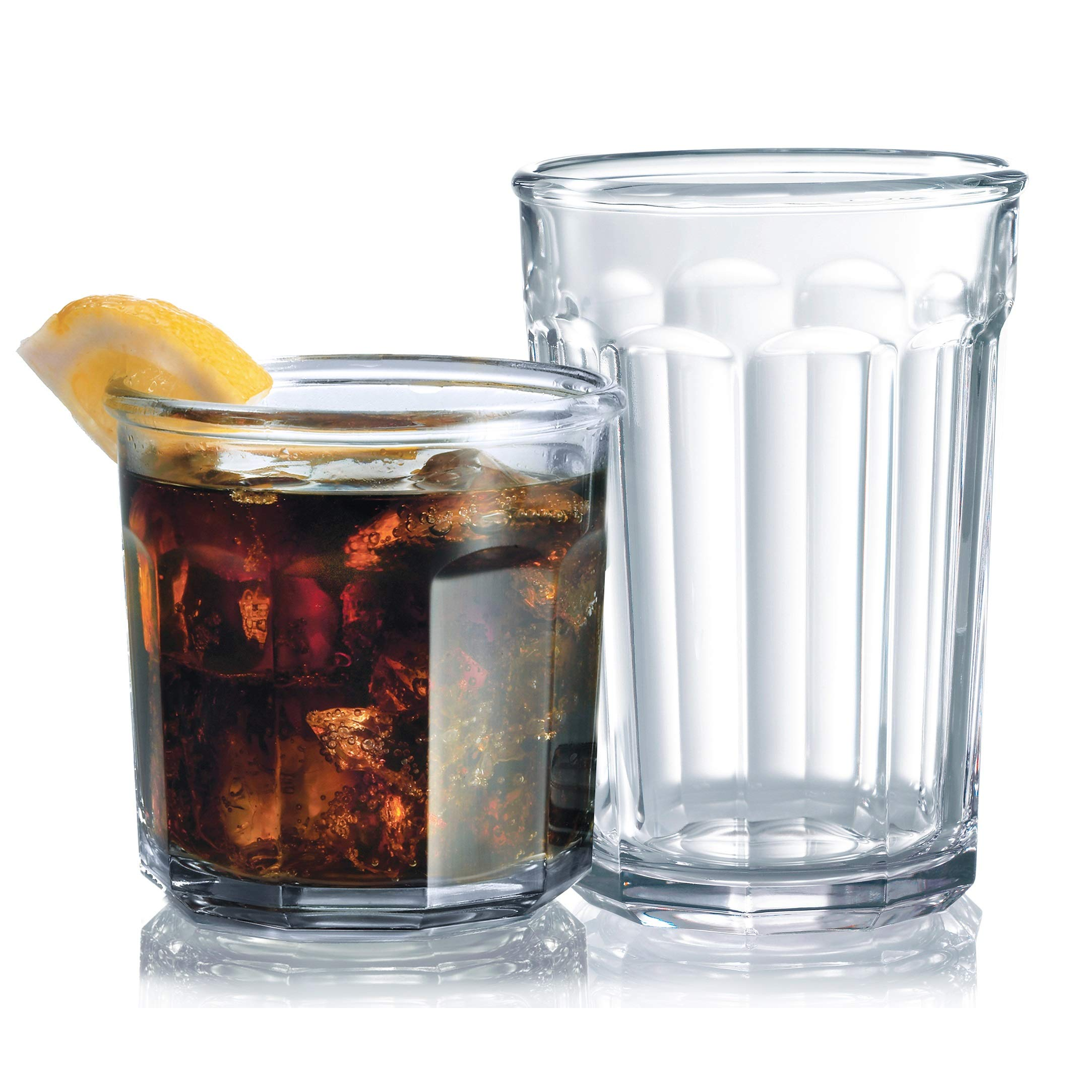 Set of 16 Durable Drinking Glasses | Heavy Base Glass Cups | Glassware Set Includes 8-21 oz Highball Glasses 8-14 oz Tumbler Glasses Ideal for Water, Juice, Beer, Wine, and Cocktails