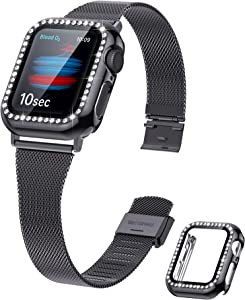 Viotonic Compatible with Apple Watch Band 38mm 40mm with Bling Diamond Protective Case for Women Men, Adjustable Stainless Steel Mesh Slim Loop Strap for iWatch Series SE/6/5/4(Black)