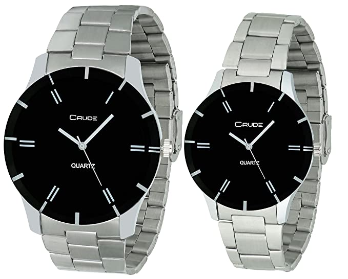 Analogue Black Dial Couple Watches -rg583
