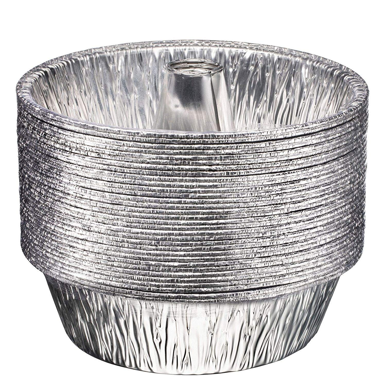 Disposable Round Cake Baking Pans - Aluminum Foil Bundt Tube Tin Great for Baking Decorative Display, Parties (20 Pans, 8-inch Round) by Plastible (Image #3)