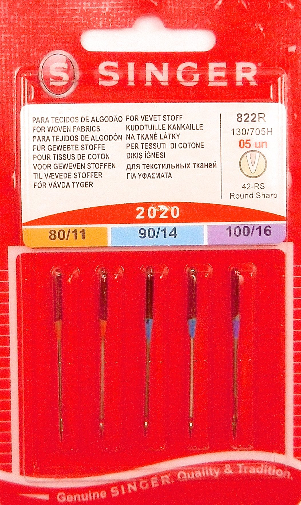 Singer Universal (Regular) Sewing Machine Needles - Assorted, 80/11, 90/14 & 100/16