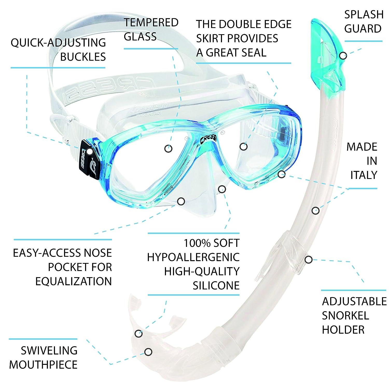 Cressi Perla Mare - Set para Snorkeling Mascara e Tubo, Fabricado en Italia, Color Turquesa: Amazon.es: Deportes y aire libre
