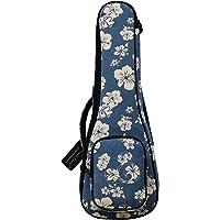 """MUSIC FIRST Original Design 0.5"""" Thick Padded Hawaii Style """"Blue and White Plumeria"""" Cotton Canvas Ukulele Case, Ukulele…"""