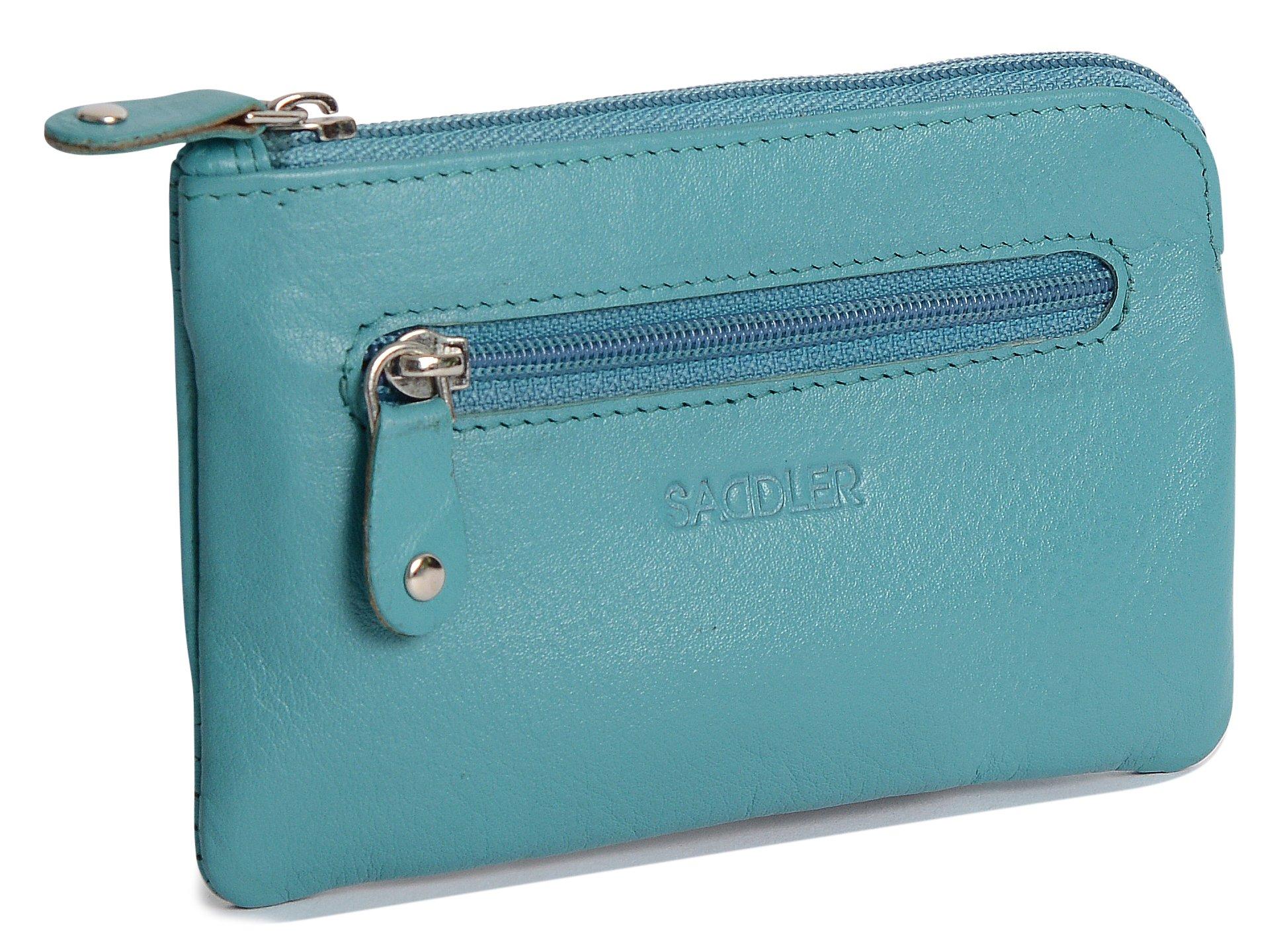 SADDLER Womens Real Leather Rectangular Zipper Top Coins & Key Purse - Teal Blue