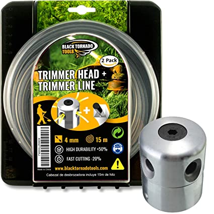 Black Tornado Tools Cabezal Desbrozadora Universal Profesional de Aluminio - 15 m de Hilo Ultraresistente