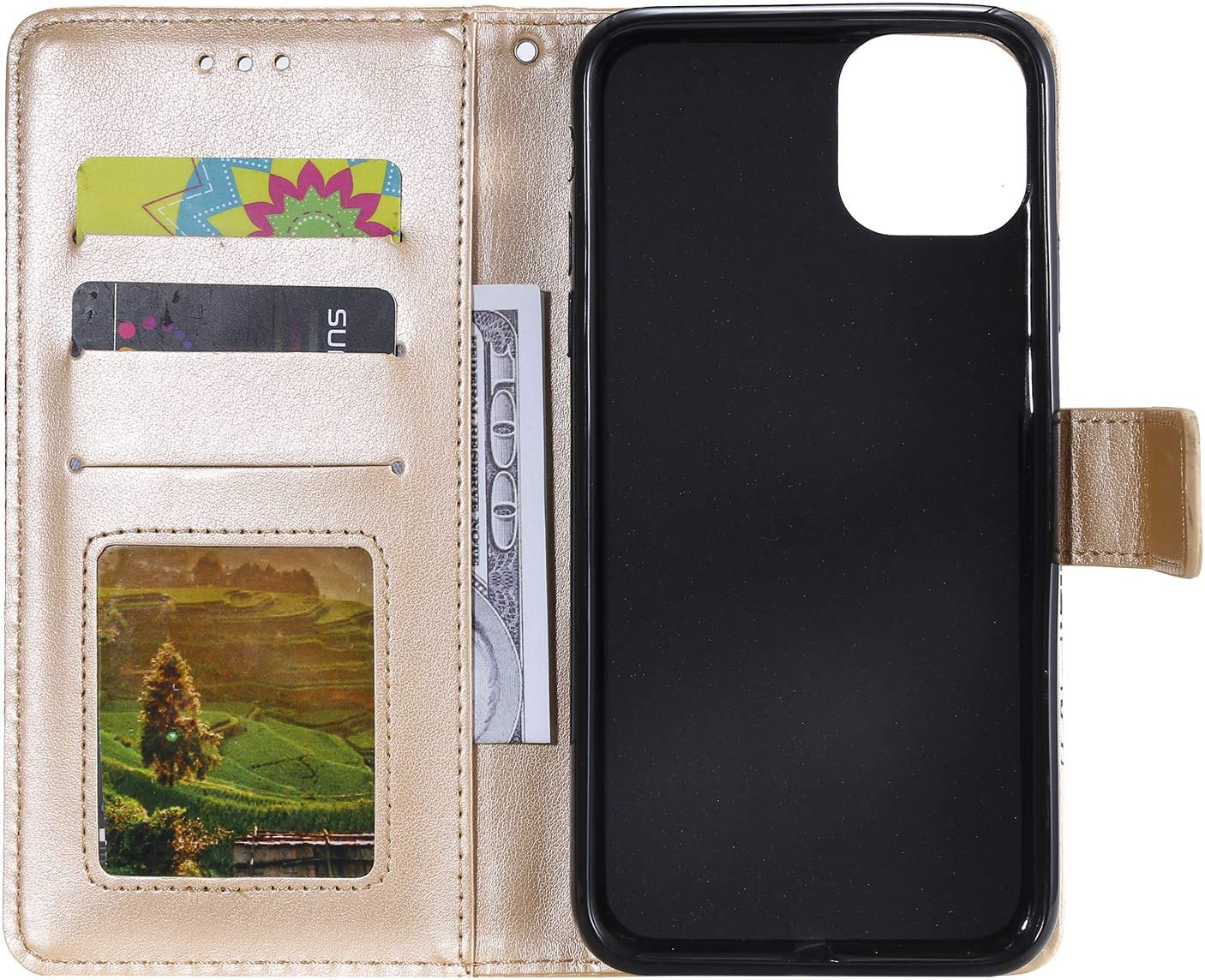 LOHHA030209 Brown 6.1 Shockproof Flip Case Cover for Apple iPhone 11 2019 with Stand Feature Card Holder Magnetic Closure Lomogo Leather Wallet Case for iPhone 11