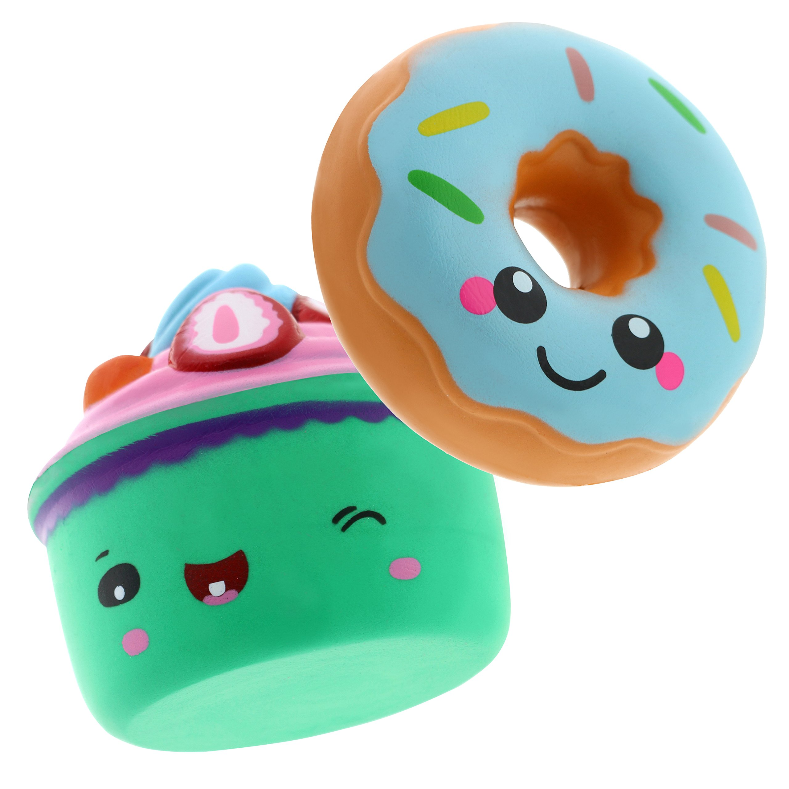Squishin' Fun Slow Rising Jumbo Kawaii 2 Pack Squishies - Scented Mochi Squishy Toys, Stress Relief Toy, Party Favors for Kids & Adults Blue Dessert Edition, Blue Strawberry Cake & Blue Glazed Donut